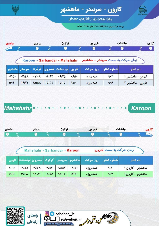 برنامه حرکت قطارهای حومه ای کارون-سربندر-ماهشهر/بهار1400