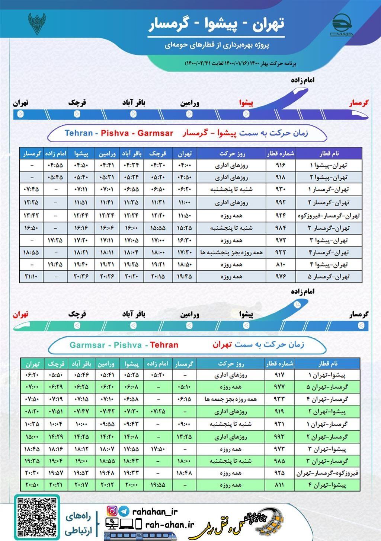 برنامه حرکت قطارهای حومه ای تهران-پیشوا-گرمسار/بهار1400