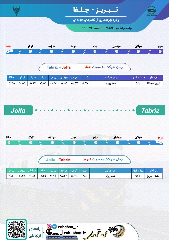 برنامه حرکت قطارهای حومه ای تبریز - جلفا/بهار1400