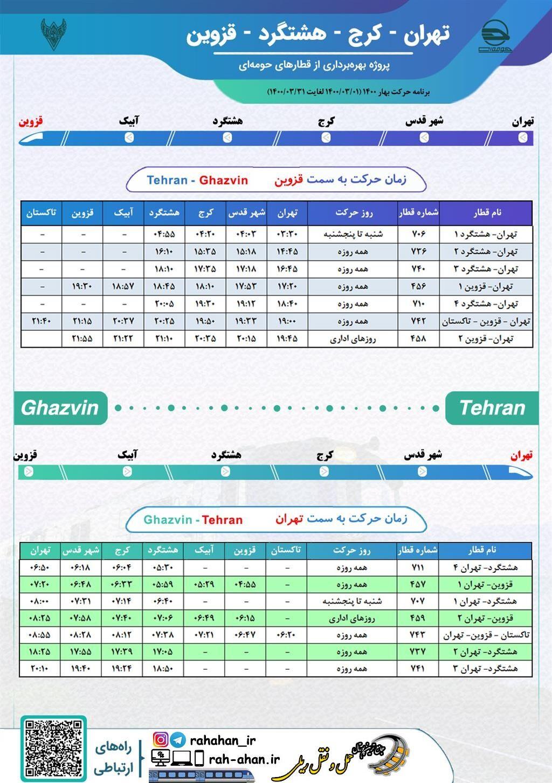 برنامه حرکت قطارهای حومه ای تهران-کرج-هشتگرد-قزوین/بهار1400