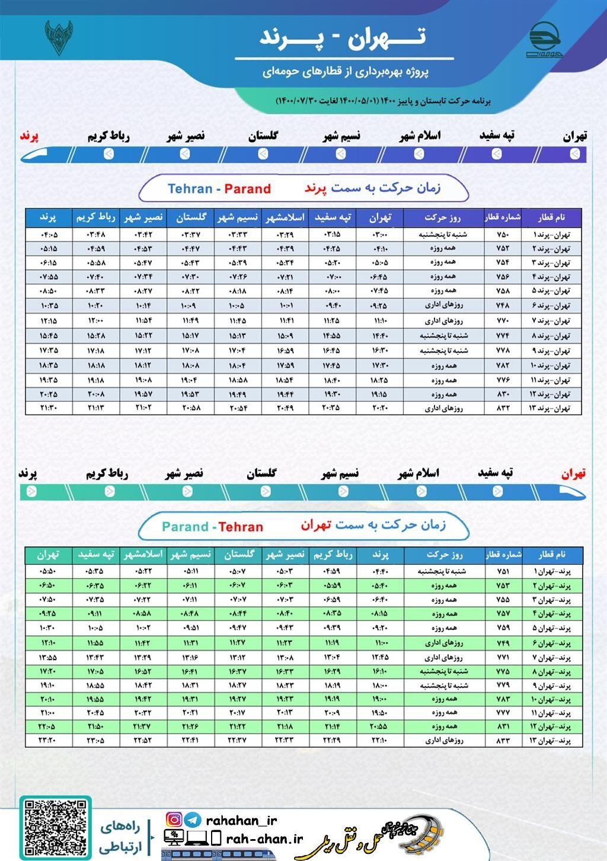 برنامه حرکت قطارهای حومه ای تهران-پرند/تابستان1400