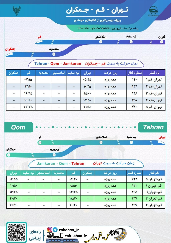 برنامه حرکت قطارهای حومه ای تهران-قم/تابستان1400