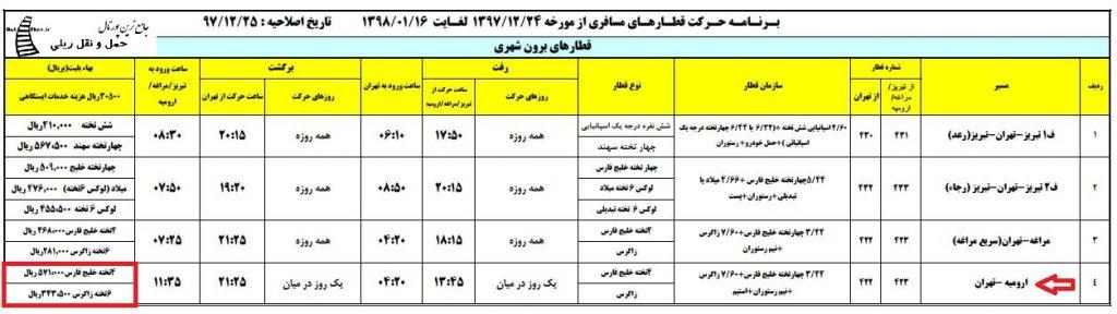 برنامه حرکت قطار مسافری ارومیه - تهران در ایام نوروز 98
