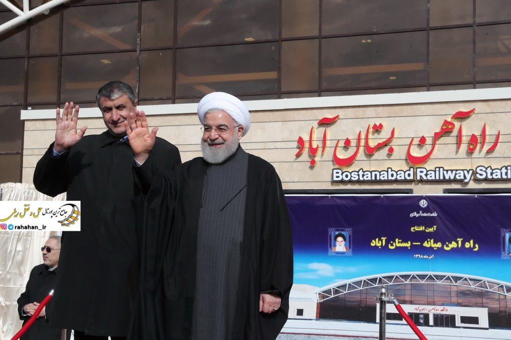 بدرقه اولین مسافران قطار بستان آباد - مشهد توسط رئیس جمهور