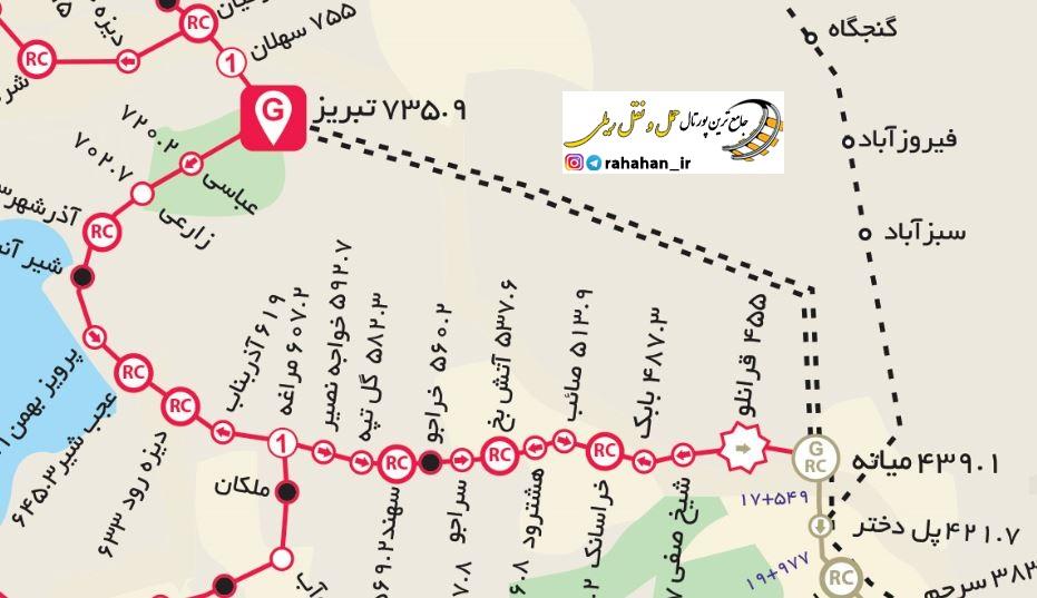 اینفوگرافیک راه آهن میانه – بستان آباد