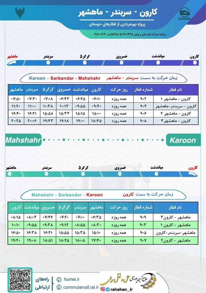برنامه حرکت قطارهای حومه ای کارون-سربندر-ماهشهر/مهر98