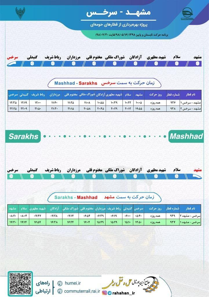 برنامه حرکت قطارهای حومه ای مشهد-سرخس/مهر98