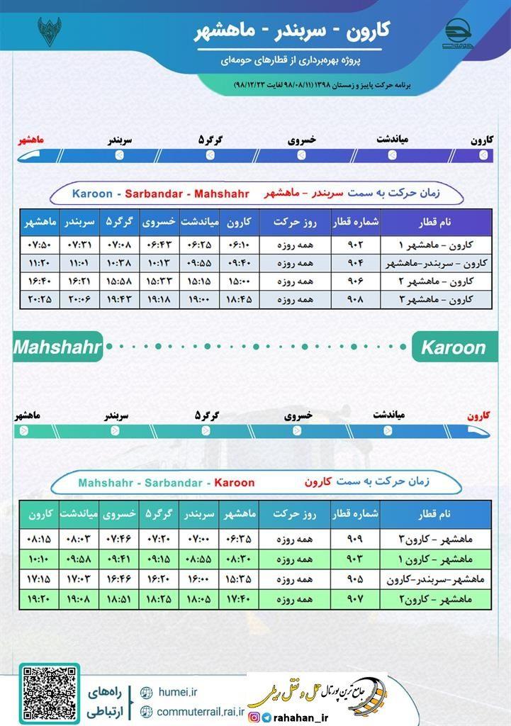 برنامه حرکت قطارهای حومه ای کارون-سربندر-ماهشهر/پاییز و زمستان۹۸