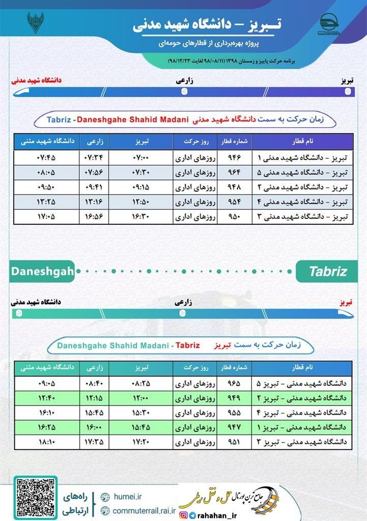 برنامه حرکت قطارهای حومه ای تبریز-دانشگاه شهید مدنی آذربایجان/پاییز و زمستان۹۸