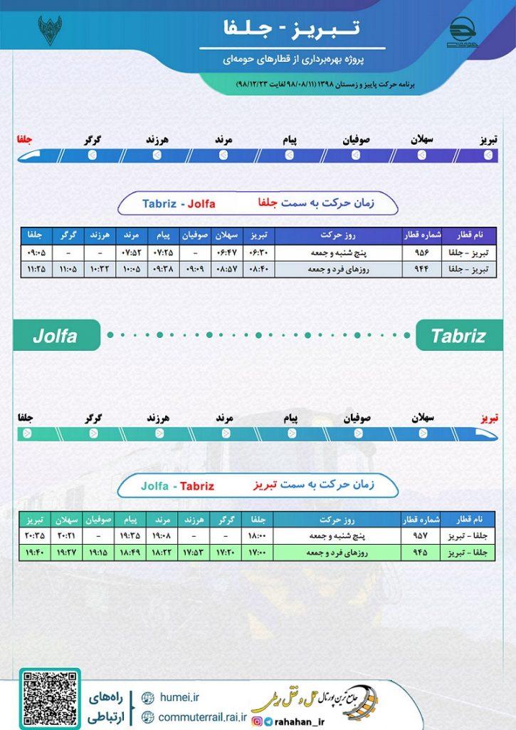 برنامه حرکت قطارهای حومه ای راه آهن آذربایجان محور تبریز-جلفا/پاییز و زمستان۹۸