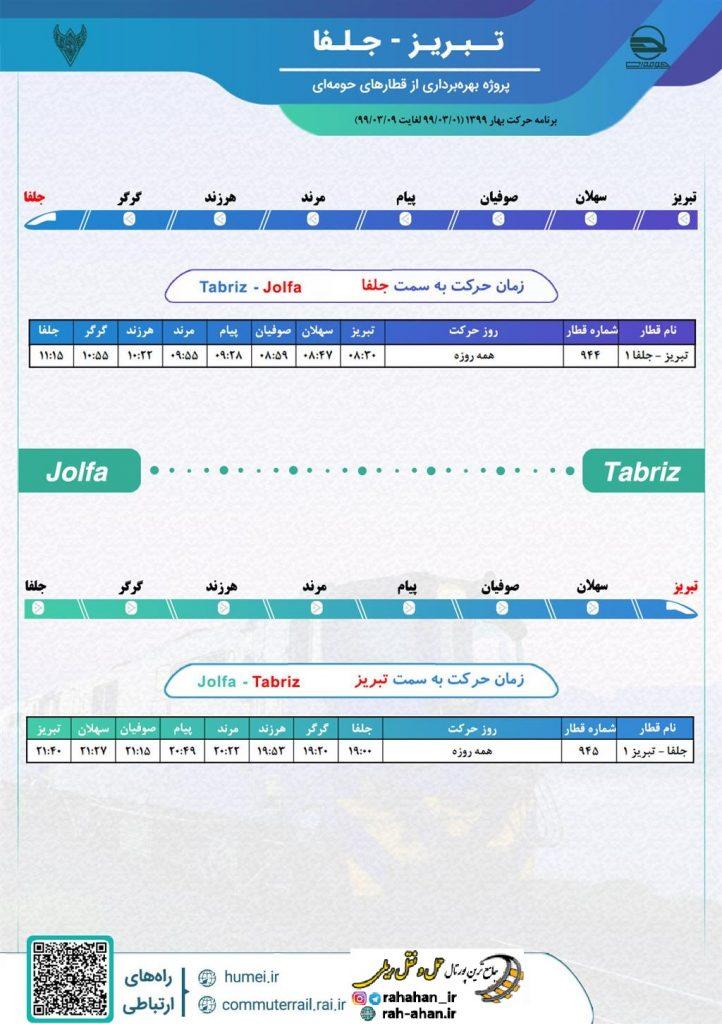 برنامه حرکت قطارهای حومه ای راه آهن آذربایجان محور تبریز-جلفا/بهار99