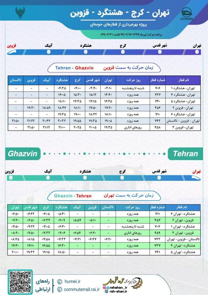 برنامه حرکت قطارهای حومه ای تهران-کرج-هشتگرد-قزوین/تابستان99