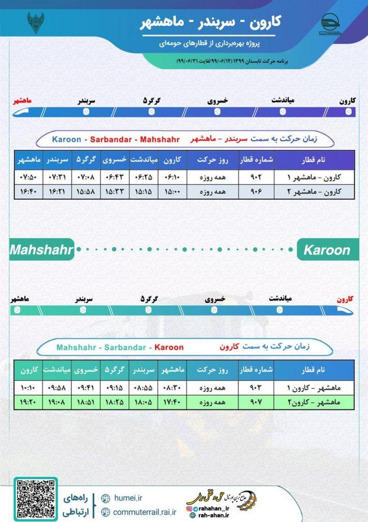 برنامه حرکت قطارهای حومه ای کارون-سربندر-ماهشهر/تابستان99