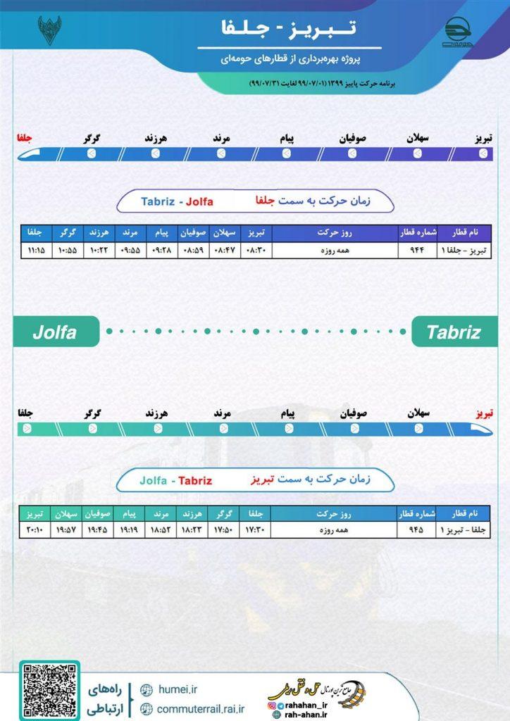 برنامه حرکت قطار حومه ای تبریز-جلفا/پاییز99