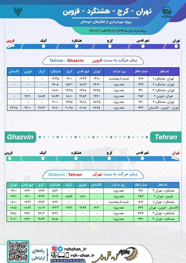 برنامه حرکت قطارهای حومه ای تهران-کرج-هشتگرد-قزوین/پاییز99