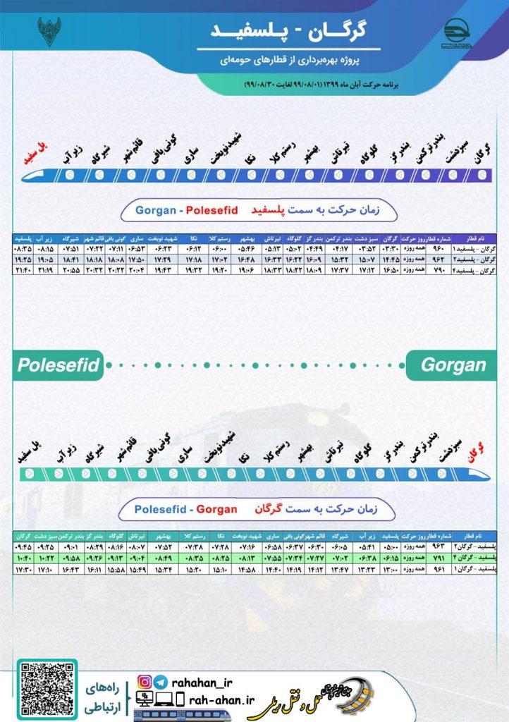 برنامه حرکت قطارهای حومه ای گرگان-پل سفید/پاییز99