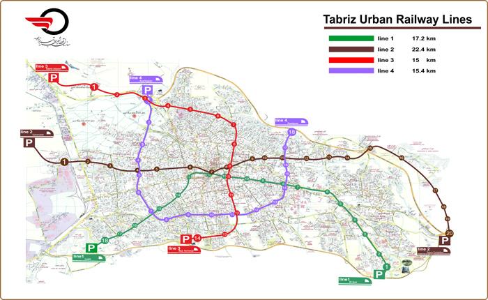 نقشه خطوط مترو تبریز
