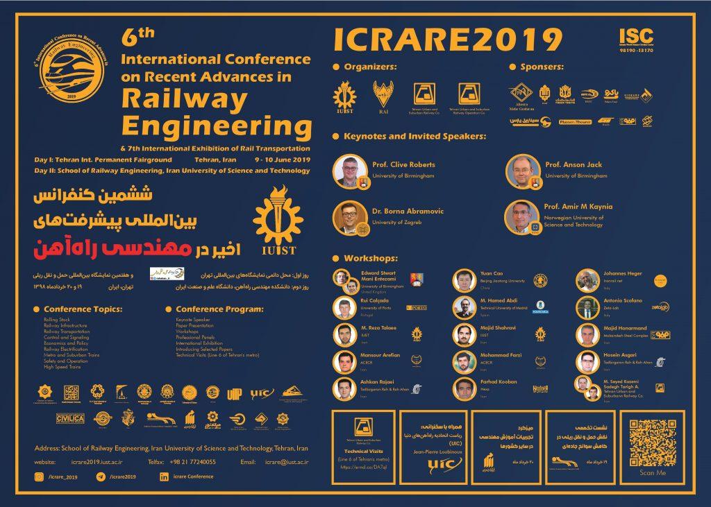 ششمین کنفرانس بین المللی پیشرفتهای اخیر در مهندسی راه آهن icrare2019