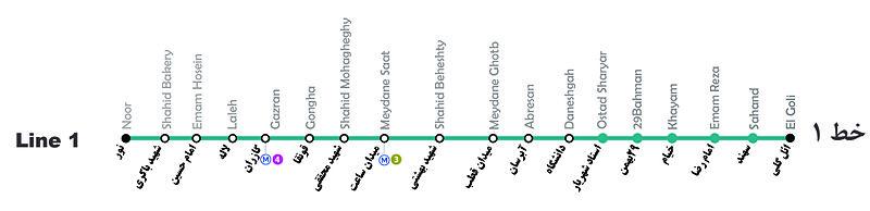 ایستگاه های خط یک قطار شهری تبریز در یک نگاه