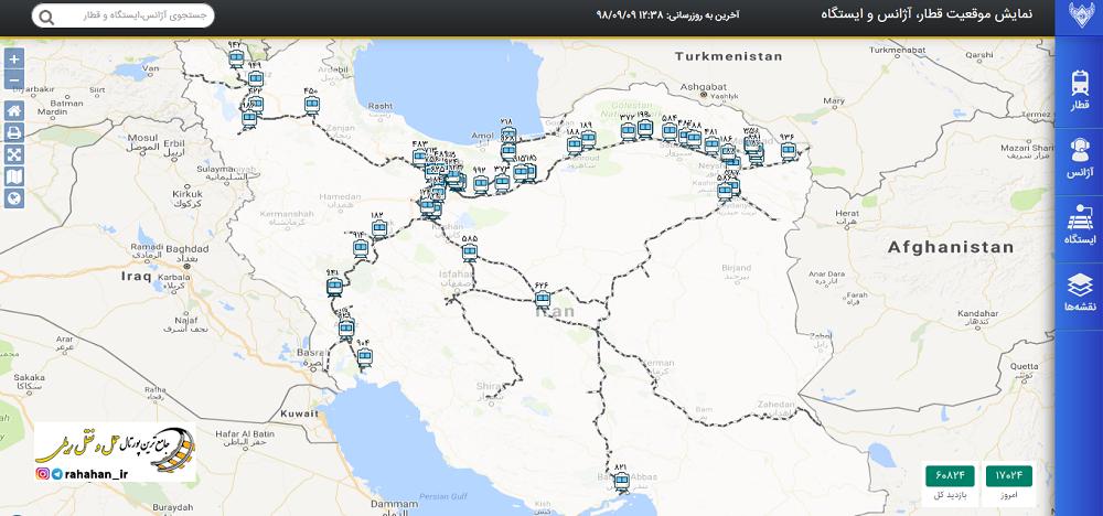 نمایش آنلاین موقعیت قطارهای مسافری