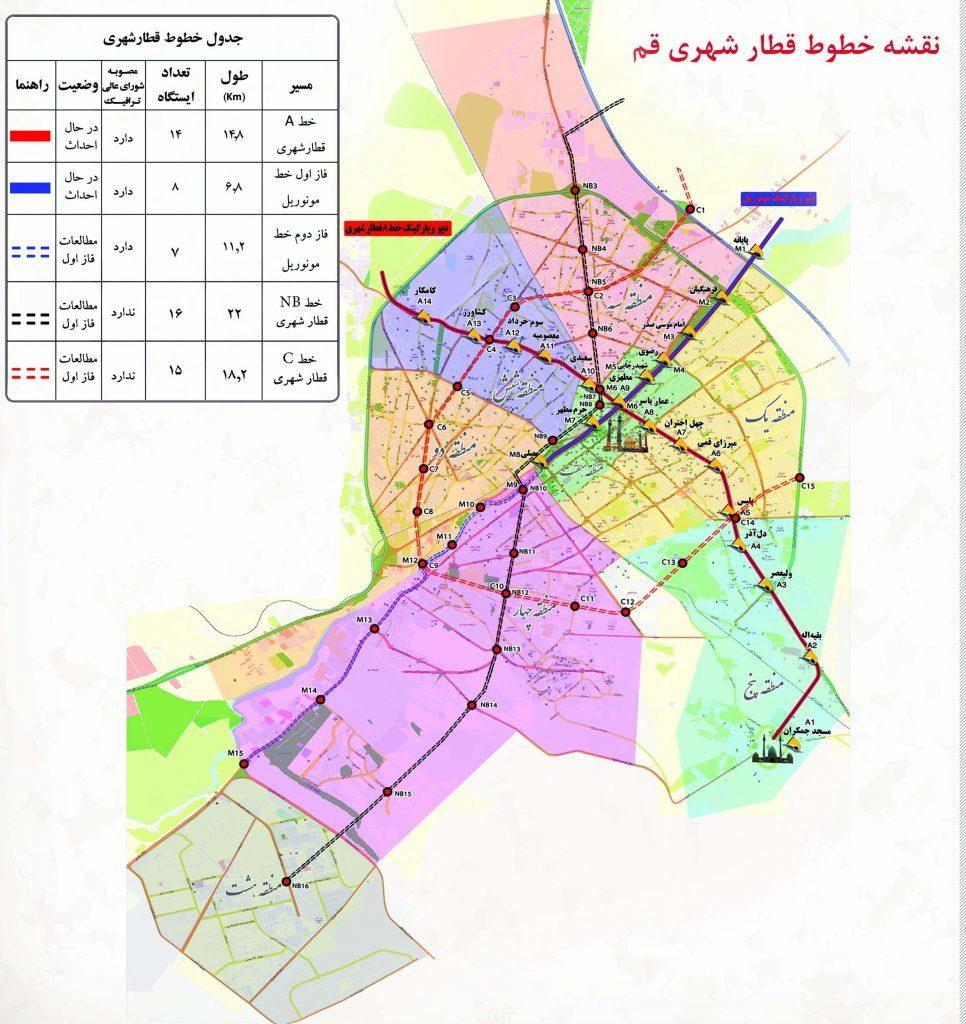 نقشه خطوط مترو قم حمل و نقل ریلی